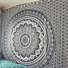 Queen Ombre Mandala Tapestry Black Ethnic Wall Art Hiipie Throw Cotton Bed Sheet