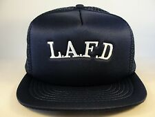 LAFD Vintage Trucker Snapback Hat Cap Size M/L Navy