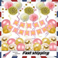 Pink Gold Birthday Balloons Decorations Women Girls' Birthday Party Supplies