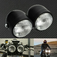 Universal Motorcycle Twin Headlight Double Dual Lamp Fit For Harley Honda Yamaha