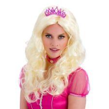 Light Blonde Wavy Princess Long Wig + Tiara Ladies Fancy Dress