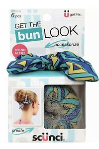 Scunci Get the Bun Look Maker 6 Piece Kit Blue Green Stripes  Hair Accessories