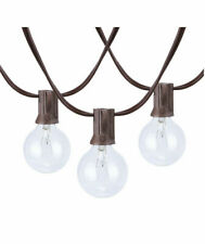 18.7 feet 20 count G40 Clear Glass Globe Bulbs Brown Wire Outdoor/Indoor