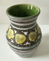 JASBA Keramik Vase Mid-Century Vintage WGP Form 172 15 cm gelb grün braun Lava