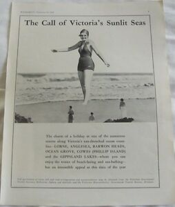 Vintage 1936 Australian Print Ad, Victorian Government Tourist Bureau