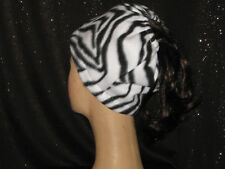 Handmade Fleece Messy Bun Hat - Zebra Print - One Size