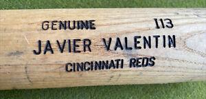JAVIER VALENTIN #17 GAME USED BROKEN BAT TEAM SIGNED DAYTON DRAGONS 2007 REDS