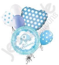 7pc Baby Boy Christening Elephant Balloon Bouquet Religious Ceremony Celebration