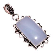 Plata De Ley 925 Capa NLG-98 Aqua Calcedonia Ancho 2.2cm Mujer Collar