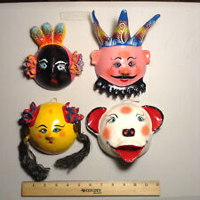 Set of Four Vintage Wall Hanging Coconut Shell Masks Very Rare Collectible Art