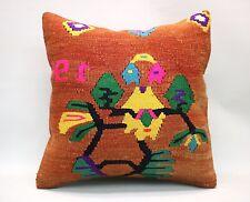 Kilim Square Pillow, 20x20 in, Decorative Throw Cushion, Handmade Vintage Pillow