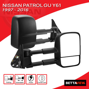 Bettaview Towing Mirror Electric Extendable Nissan Patrol GU Y61 1997-2016 Black