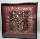 Hand-Embroidered & Framed Southeast Asian Pillow Topper Tapestry w/ Sequins