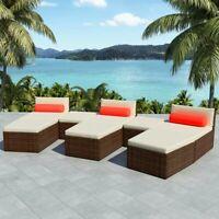 vidaXL Outdoor Modular Sofa Set 22 Piece Wicker Poly Rattan Brown Sun Lounger