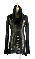 women punk rave gothic rock fashion black knit sweater shirt top steampunk black