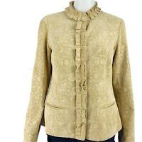 Chicos Jacket Size 0 Jacquard Corduroy Carella Bouquet Pockets Small NWT