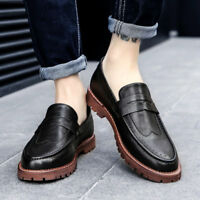 2018 Men's Oxford British Youth Slip On Casual Flat Leather Summer Loafers Shoes