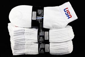 9-11 10-13 Heavy Ankle Low Cut Socks Cotton White USA Logo Gym Outdoor Men Women