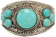 Turquoise and Silver Tone Stretch Bracelet