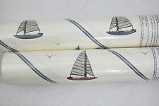 Simple Sailboat Nautical Theme White Wallpaper with Blue Pinstripes - York Brand