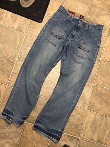 Tommy Hilfiger Red Label Carpenter Jeans Mens 34 x 32 90s Vintage Baggy Denim