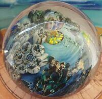Stunning Signed Josh Simpson Inhabited Planet Art Glass Paperweight WOW!!!