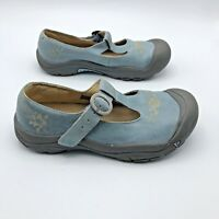 Keen Women Blue Suede Floral Mary Jane Buckle Shoe Size 4 EUR 37 Pre Owned