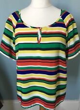 M&CO PRIMARY COLOUR STRIPE TOP SHORT SLEEVE BRIGHT UK 20