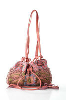 Moyna Pink Beaded Embroidered Pouch Evening Handbag New