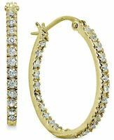 GIANI BERNINI cubic zirconia 18K gold over Sterling Silver hoop earrings