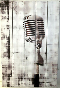 1950s RETRO ELVIS SHURE MICROPHONE ON WOOD HAND MADE BY PARVEZ TAJ MARMONT HILL