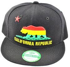 California Republic Snapback-Cali Bear-rasta black
