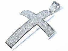 14k White Gold 35.00ct Princess Cut White Diamond Sleek Curved Cross Pendant