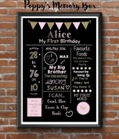 1st Birthday Personalised Keepsake Chalkboard Style Print Gift Cake Smash Prop