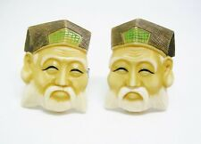 Vintage Cuff Links Toshikane Style carved Porcelain Cufflinks Sterling Silver