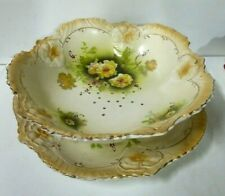 ANTIQUE ENGLISH CERAMIC VEGETABLE STRAINER BOWL & PLATE FLORAL YELLOW ROSES