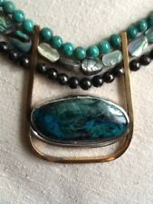Mine Dancer Chrysocolla, Sterling Silver, Jewelers Brass,Necklace & Ear Rings.