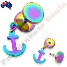 316L Surgical Steel Rainbow Ion Plated Fake Ear Plug With Anchor Dangle