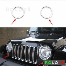 2Pcs ABS Driving Turn Signal Light Cover Ring Chrome For Jeep Wrangler 2007-2017