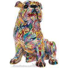 More details for large 29cm groovy art bright coloured bulldog ornament figurine dog lover gift