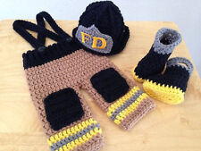 New baby firefighters Knit Crochet Clothes hat&pants Photo Prop outfit