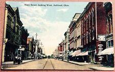 1915 ASHLAND, OH, MAIN STREET SCENE, DR. J. A. HISEY DENTIST POSTCARD
