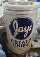 """RARE Vintage Jays Metal Potato Chip Can - 1986 Limited Edition Tin 11 1/2"""" Tall"""
