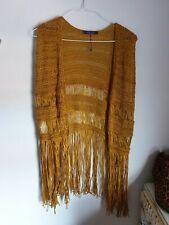 Mango Crochet Tassel Hippy Waistcoat Jumper Size Small 8 10