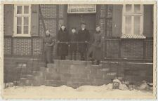 WW2 GERMAN SOLDIERS Overcoats Couple and Youth Door Entrance Real Photo PC c1940