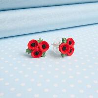 POPPY TRIO STUD EARRINGS  flower jewellery  MADE IN WALES UK Handpainted