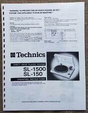Technics SL-1500 / SL-150 Turntable Owners Manual