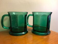 Depression Era Glassware Coffee Mugs Set of 2 Green - Made in the Usa Vintage