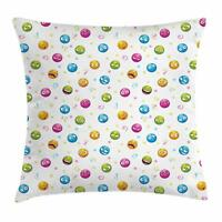 Emoji Throw Pillow Cases Cushion Covers by Ambesonne Home Decor 8 Sizes