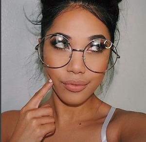 """OVERSIZED Round Retro """"Lennon""""  Women Eyeglasses Clear Lens GOLD Metal Frames"""